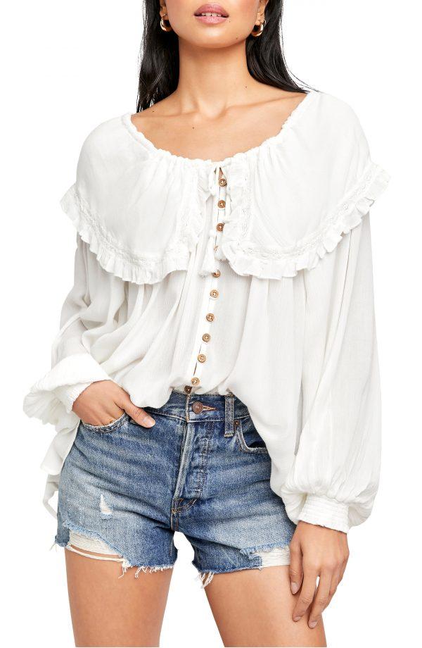 Women's Free People Sunrise Blouse, Size X-Small - Ivory