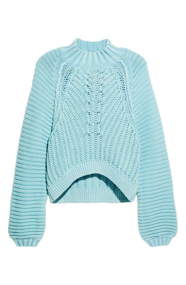 Women's Free People Sweetheart Mock Neck Sweater, Size X-Small - Blue