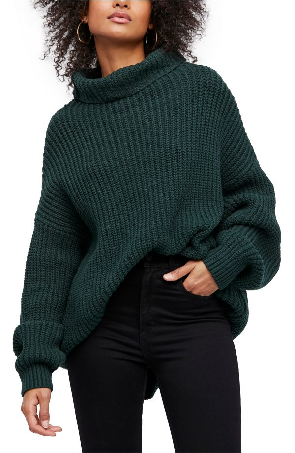 Women's Free People Swim Too Deep Turtleneck Sweater, Size Small - Green