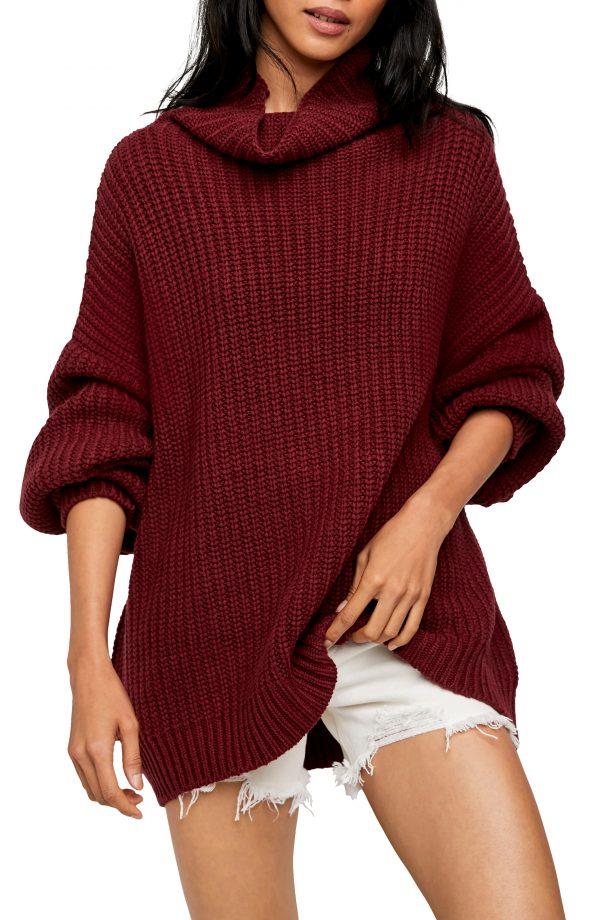 Women's Free People Swim Too Deep Turtleneck Sweater, Size X-Small - Purple