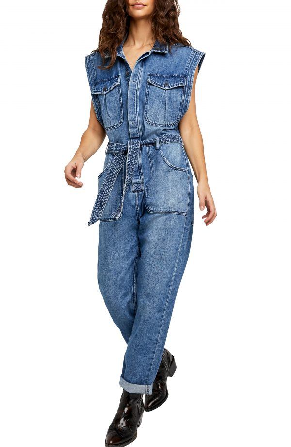 Women's Free People Sydney Sleeveless Nonstretch Denim Coveralls, Size X-Small - Blue