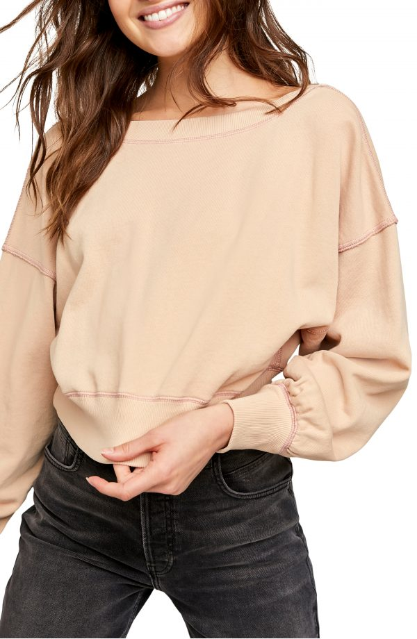 Women's Free People Take Me Back Front/back Pullover, Size X-Small - Beige