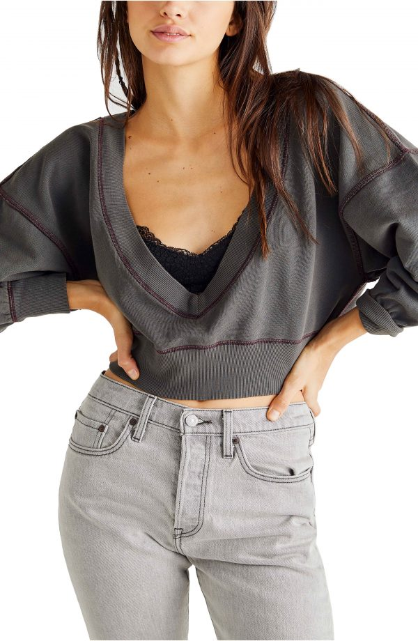 Women's Free People Take Me Back Front/back Pullover, Size X-Small - Black