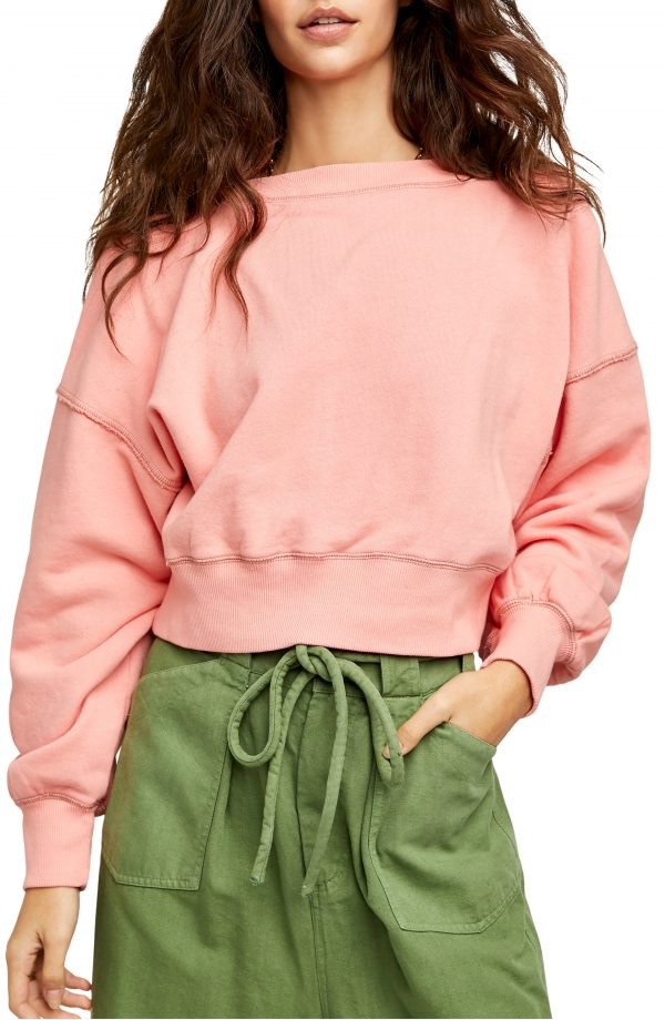 Women's Free People Take Me Back Front/back Pullover, Size X-Small - Pink