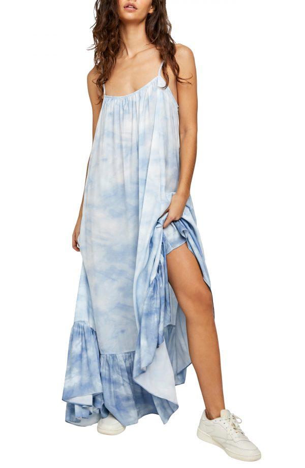 Women's Free People Tie Dye Maxi Slipdress, Size X-Small - Blue