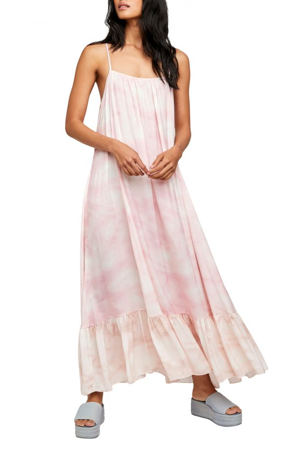 Women's Free People Tie Dye Maxi Slipdress, Size X-Small - Pink