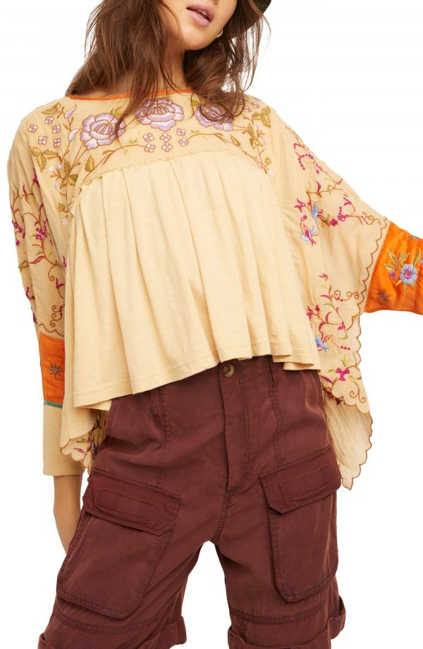 Women's Free People Waiting On A Sunny Day Top, Size Small - Beige