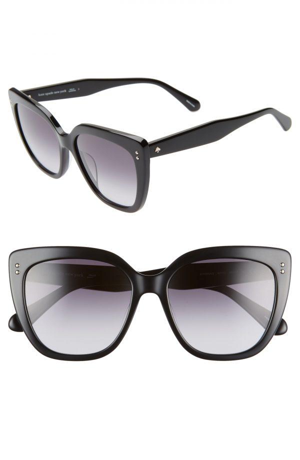 Women's Kate Spade New York 55mm Kiyannas Cat Eye Sunglasses - Black