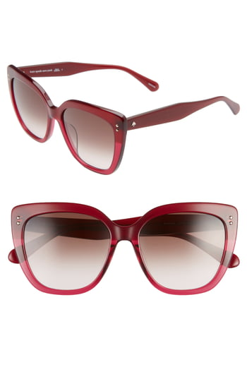 Women's Kate Spade New York 55mm Kiyannas Cat Eye Sunglasses - Burgundy/ Brown Gradient