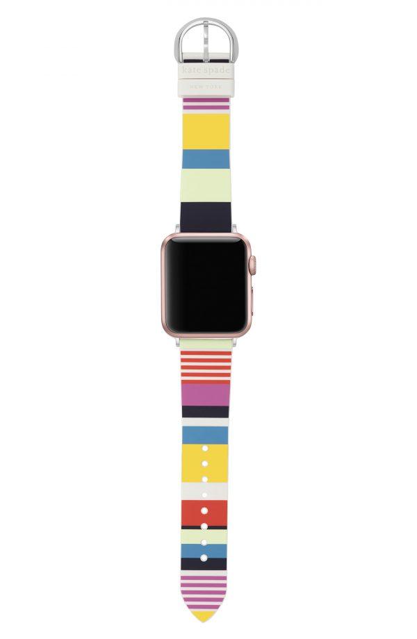 Women's Kate Spade New York Apple Watch Stripe Silicone Strap