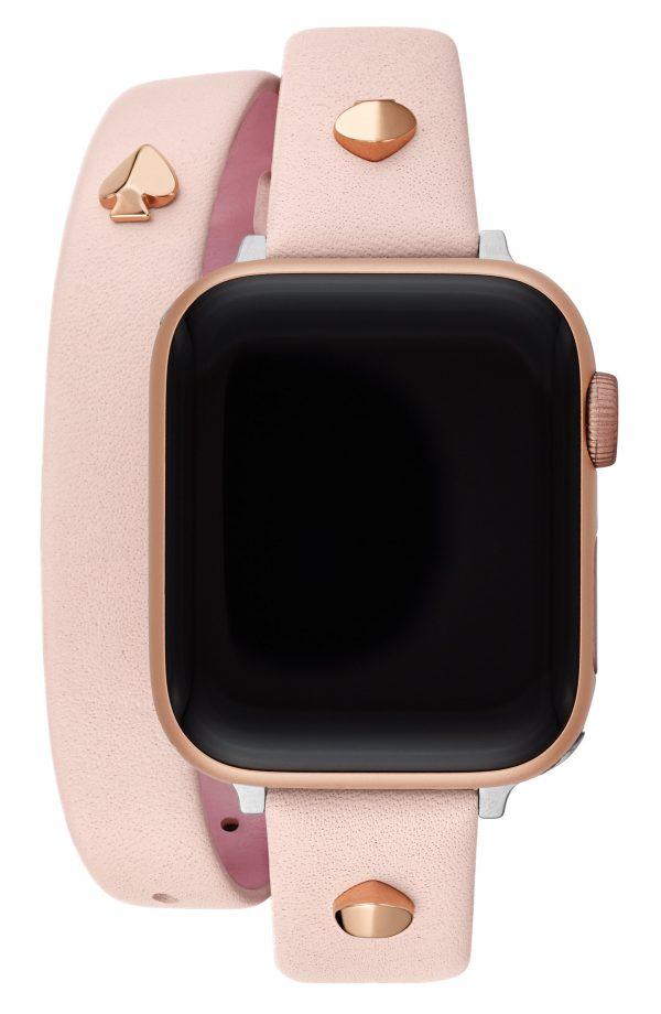 Women's Kate Spade New York Apple Watch Studded Wraparound Leather Strap