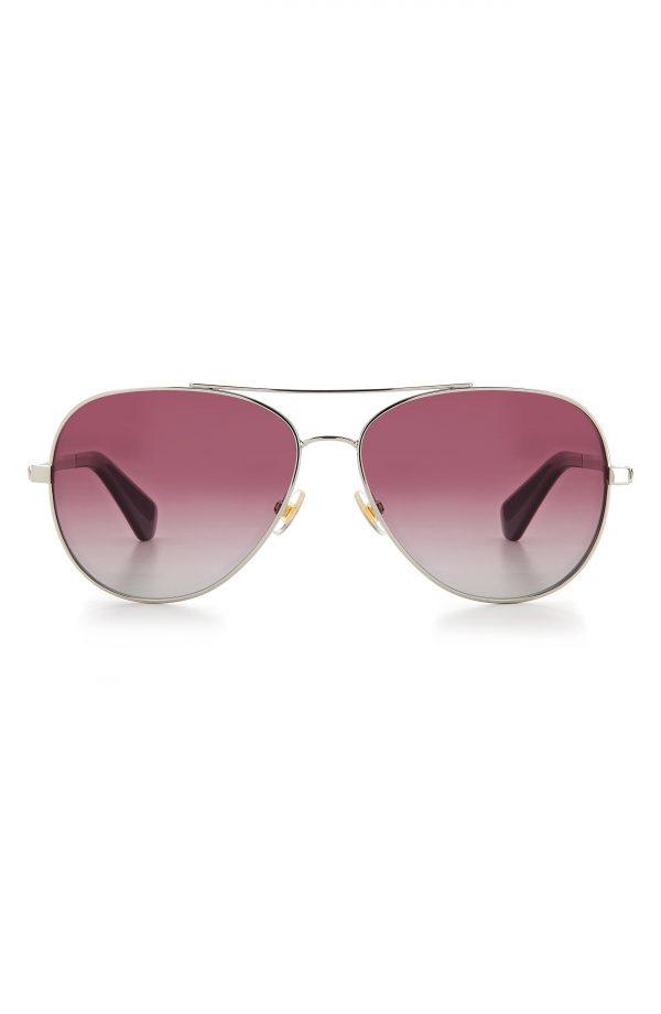 Women's Kate Spade New York Avaline2 58mm Gradient Aviator Sunglasses - Silver/ Burgundy Gradient