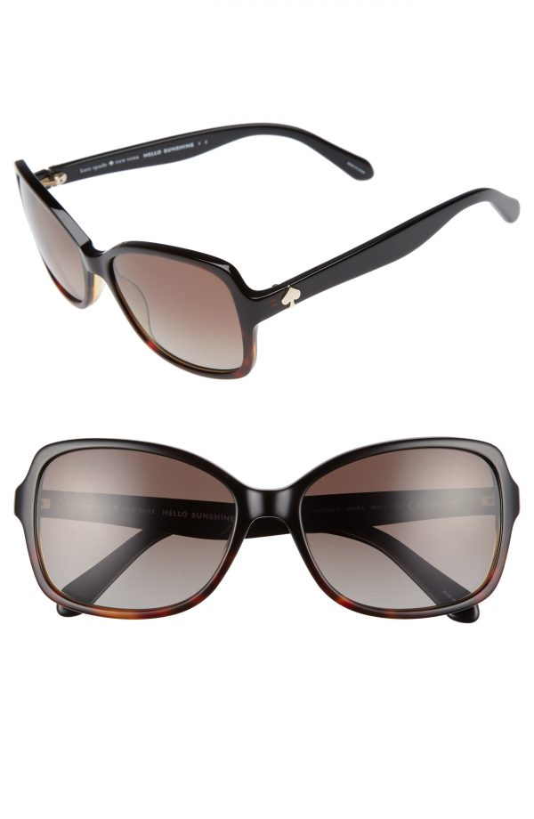 Women's Kate Spade New York Ayleen 56mm Polarized Sunglasses - Black Havana