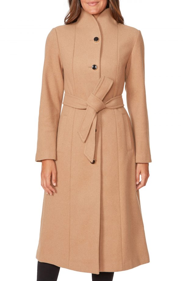 Women's Kate Spade New York Belted Wool Blend Coat, Size X-Small - Beige