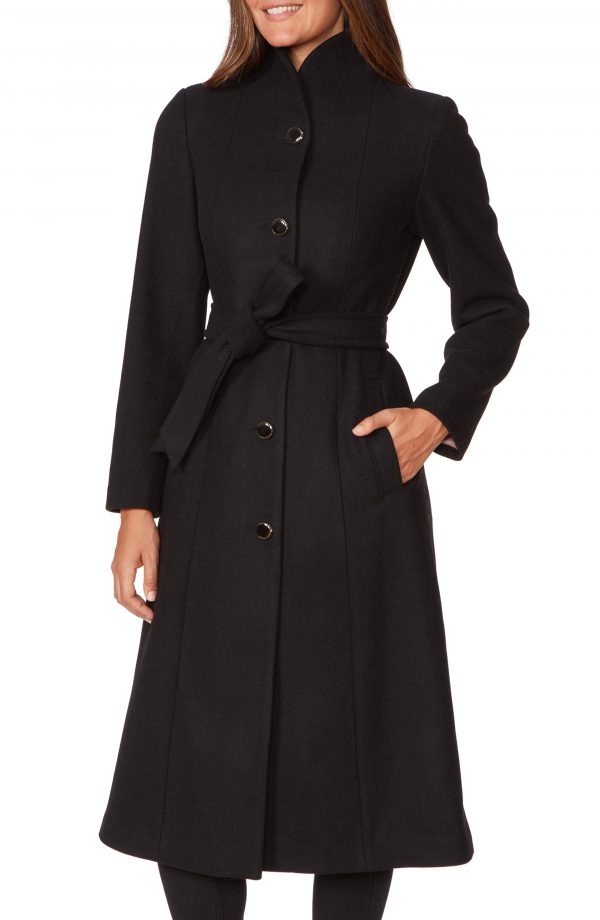 Women's Kate Spade New York Belted Wool Blend Coat, Size X-Small - Black