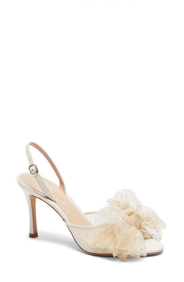 Women's Kate Spade New York Bridal Sparkle Slingback Sandal, Size 7.5 M - White