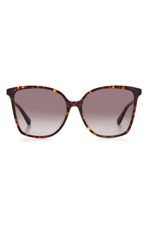 Women's Kate Spade New York Brigitte 58mm Gradient Cat Eye Sunglasses - Dark Havana/ Brown Gradient