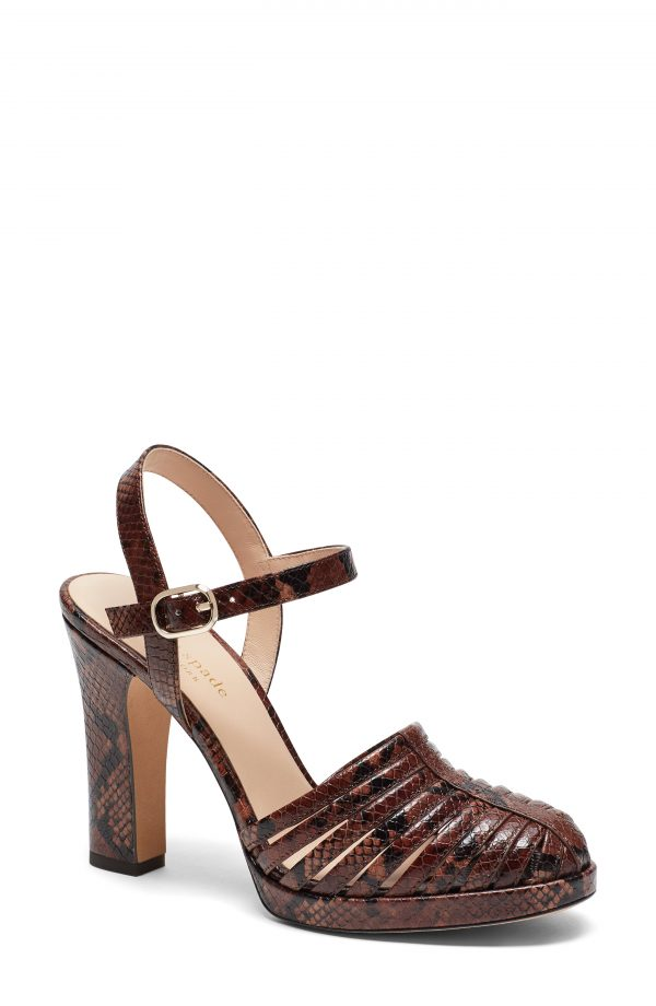 Women's Kate Spade New York Campania Snakeskin Embossed Sandal, Size 6.5 M - Brown