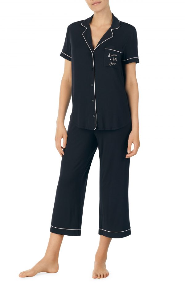 Women's Kate Spade New York Capri Short Sleeve Pajamas, Size X-Small - Black