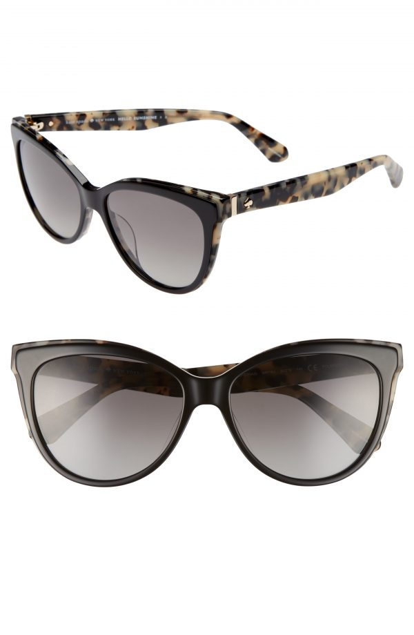 Women's Kate Spade New York Daeshas 56mm Polarized Cat Eye Sunglasses - Black Havana Polar