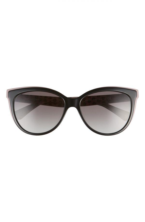 Women's Kate Spade New York Daeshas 56mm Polarized Cat Eye Sunglasses - Black/ Pink/ Grey
