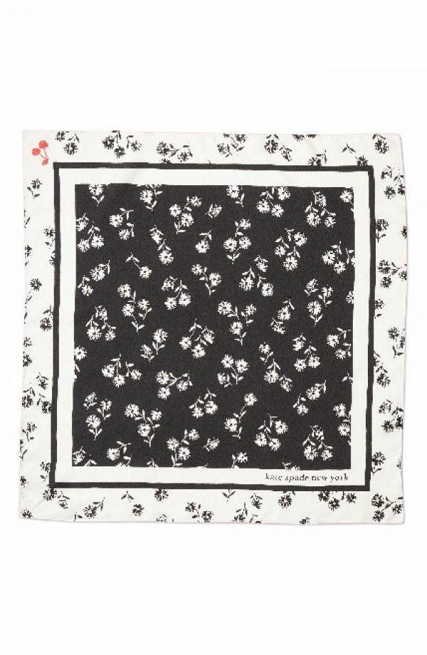 Women's Kate Spade New York Dandelion Floral Silk Bandana Scarf, Size One Size - Black