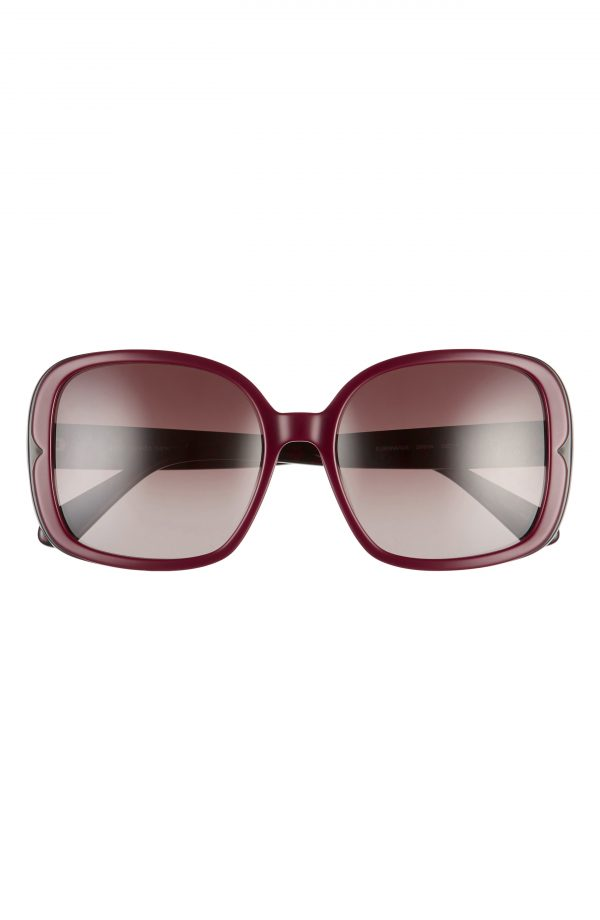 Women's Kate Spade New York Elianna 55mm Square Polarized Sunglasses - Burgundy Pattern/ Brown