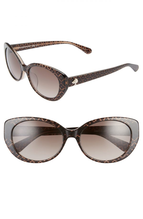 Women's Kate Spade New York Everett 56mm Special Fit Gradient Cat Eye Sunglasses - Brown/ Brown Gradient