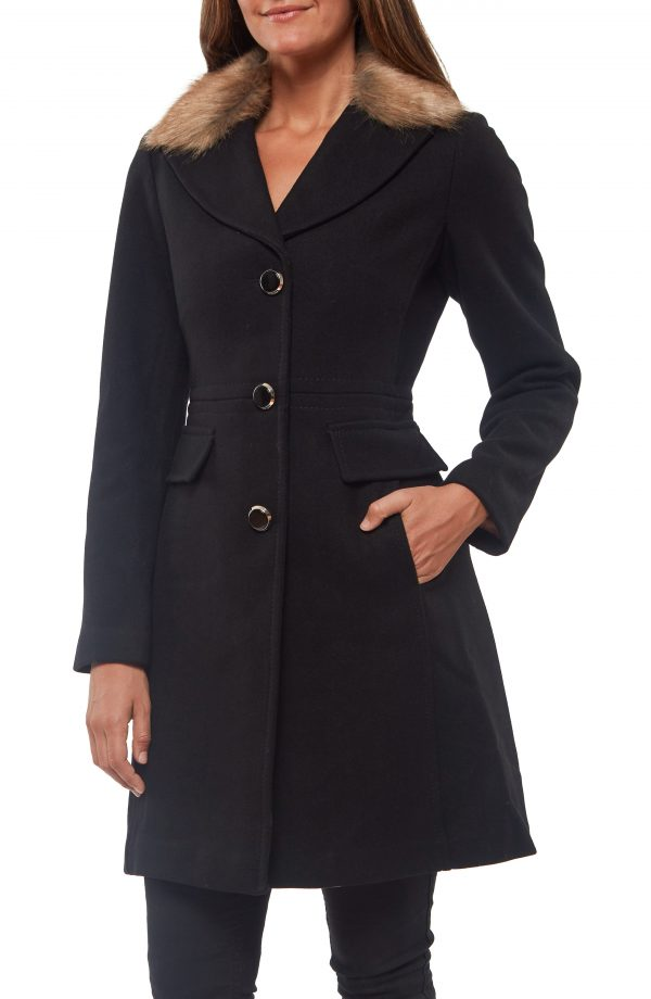 Women's Kate Spade New York Faux Fur Collar Wool Blend Coat, Size Medium - Black