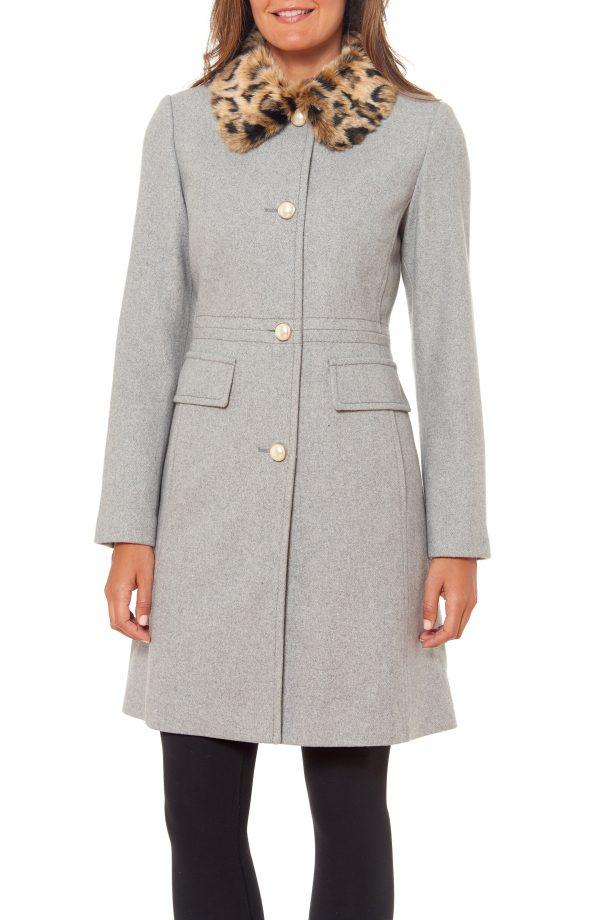Women's Kate Spade New York Faux Fur Collar Wool Blend Coat, Size X-Small - Grey