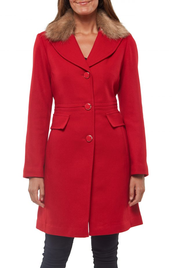 Women's Kate Spade New York Faux Fur Collar Wool Blend Coat, Size X-Small - Red