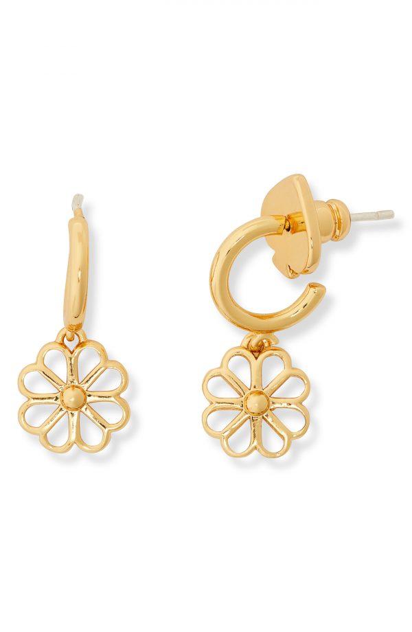 Women's Kate Spade New York Foral Charm Drop Huggie Hoop Earrings