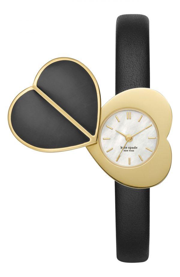 Women's Kate Spade New York Heart Twist Leather Strap Watch, 28mm