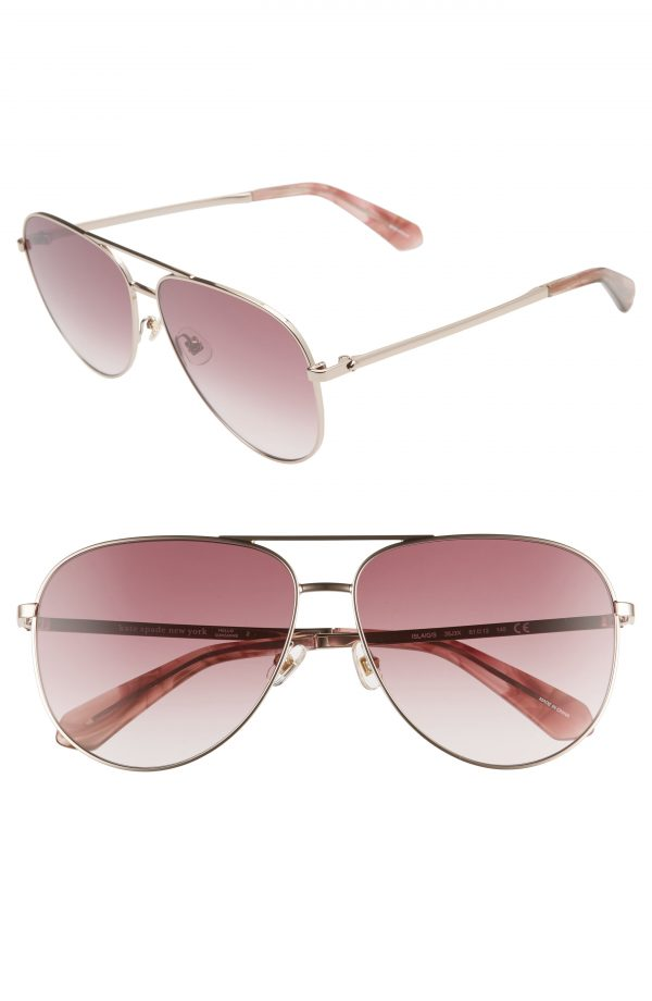 Women's Kate Spade New York Isla 61mm Aviator Sunglasses - Pink/ Pink