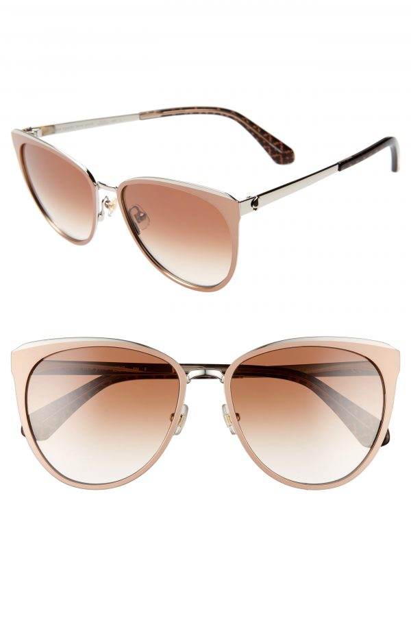 Women's Kate Spade New York Jabreas 57mm Cat Eye Sunglasses - Brown / Silver