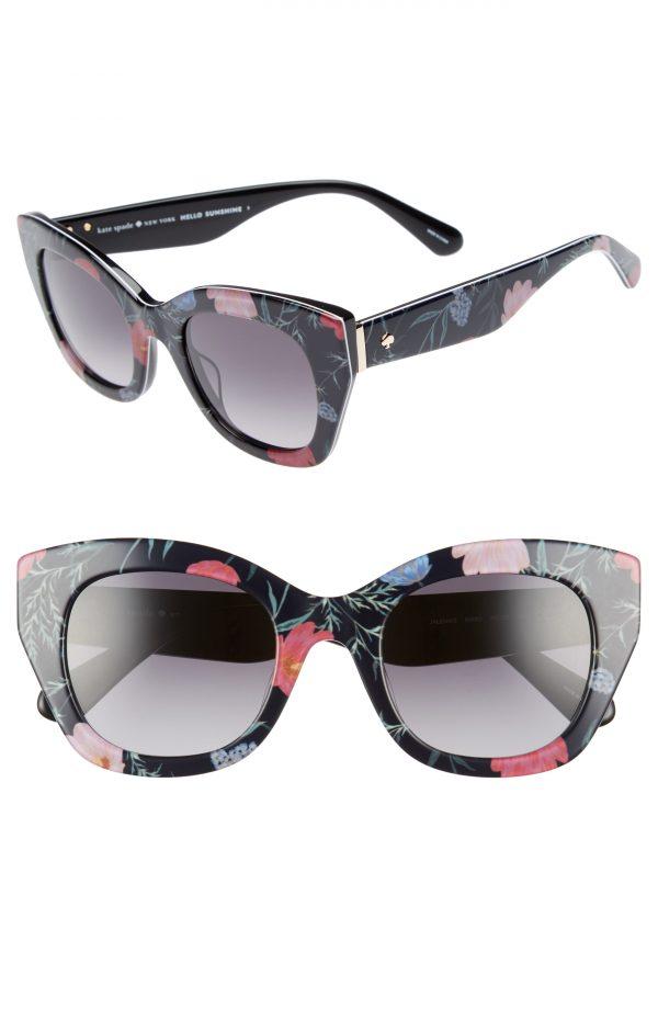 Women's Kate Spade New York Jalena 49mm Gradient Sunglasses - Black/ Floral Print