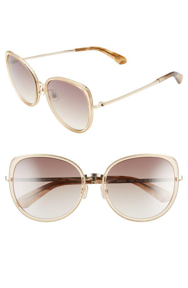 Women's Kate Spade New York Jensen 57mm Gradient Sunglasses - Crystal Beige/ Brown Silver