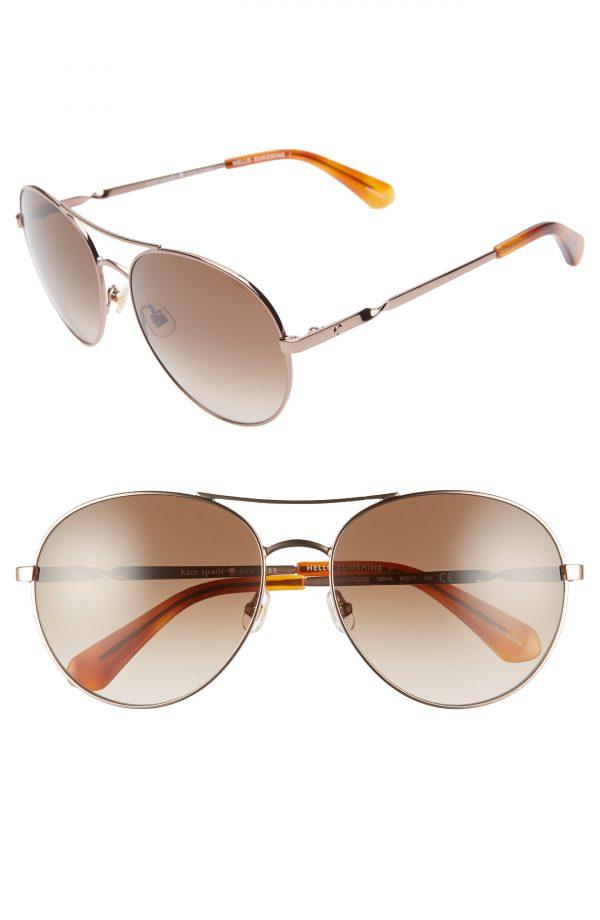 Women's Kate Spade New York Joshelle 60mm Aviator Sunglasses - Gold/ Dark Havana