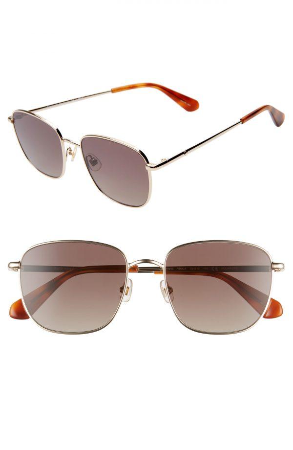 Women's Kate Spade New York Kiyahs 53mm Gradient Polarized Square Sunglasses - Gold/ Brown
