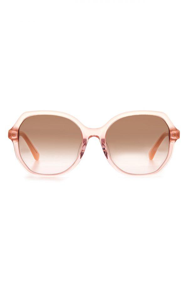 Women's Kate Spade New York Lourdes 57mm Gradient Polarized Square Sunglasses - Peach/ Brown Pink Gradient
