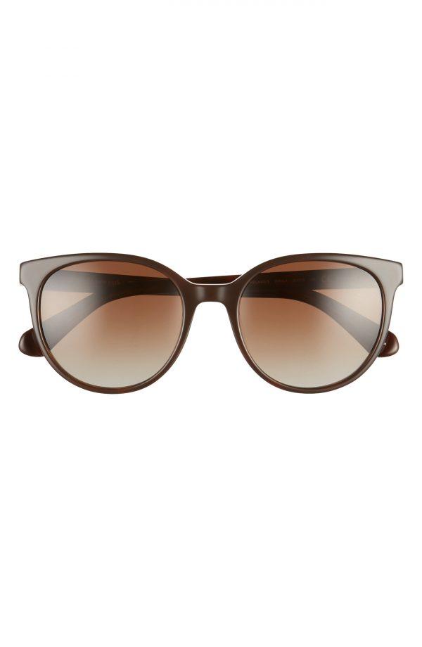 Women's Kate Spade New York Melanies 52mm Polarized Round Sunglasses - Brown Havana/ Brown