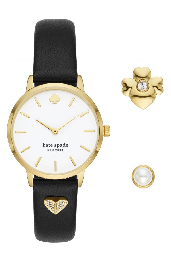 Women's Kate Spade New York Metro Leather Strap Watch & Charms Set, 34mm