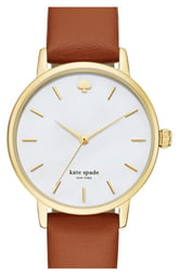 Women's Kate Spade New York 'Metro' Round Leather Strap Watch, 34mm