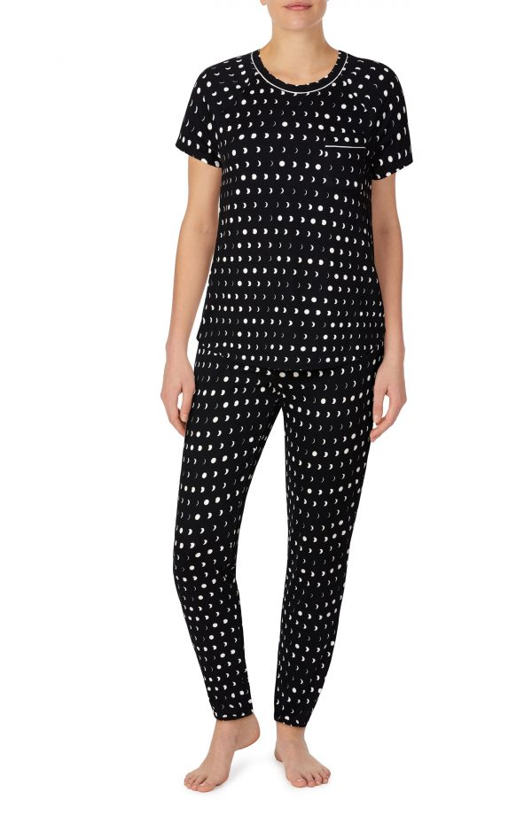 Women's Kate Spade New York Print Brushed Jersey Pajamas, Size Small - Black