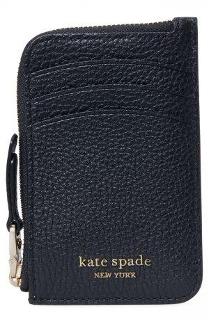 Women's Kate Spade New York Roulette Leather Zip Cardholder - Black