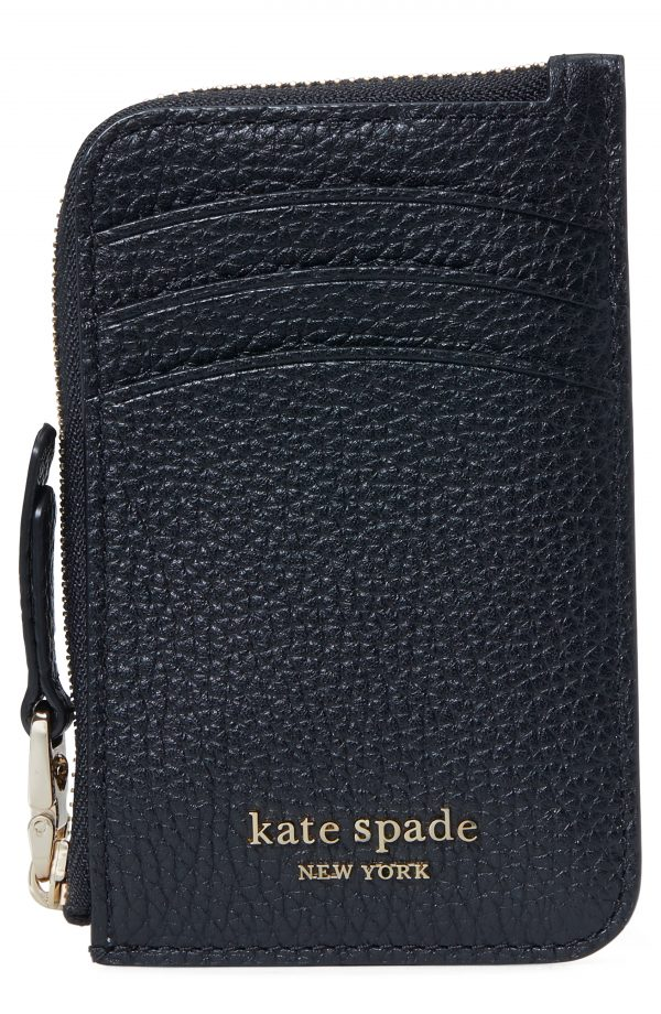 Women's Kate Spade New York Roulette Leather Zip Cardholder - Black