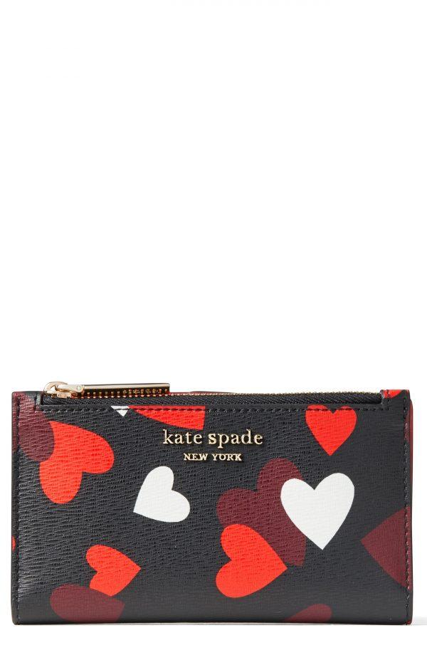 Women's Kate Spade New York Small Spencer Celebration Hearts Saffiano Leather Slim Bifold Wallet - Black