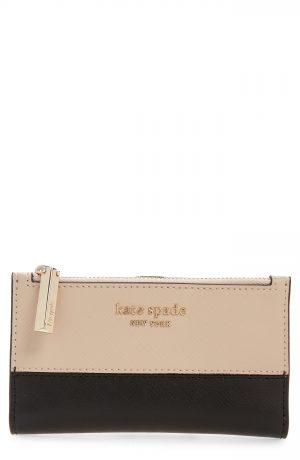 Women's Kate Spade New York Small Spencer Slim Leather Bifold Wallet - Beige