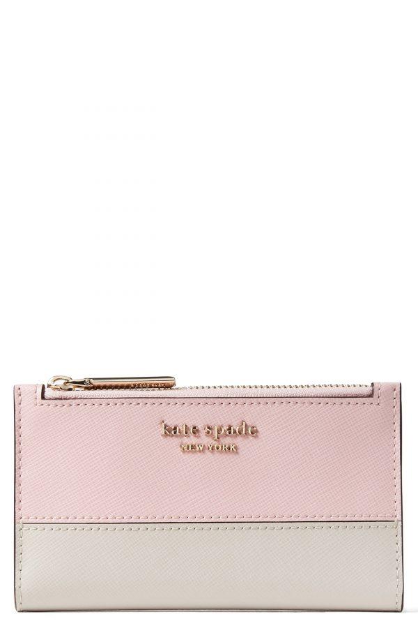 Women's Kate Spade New York Small Spencer Slim Leather Bifold Wallet - White