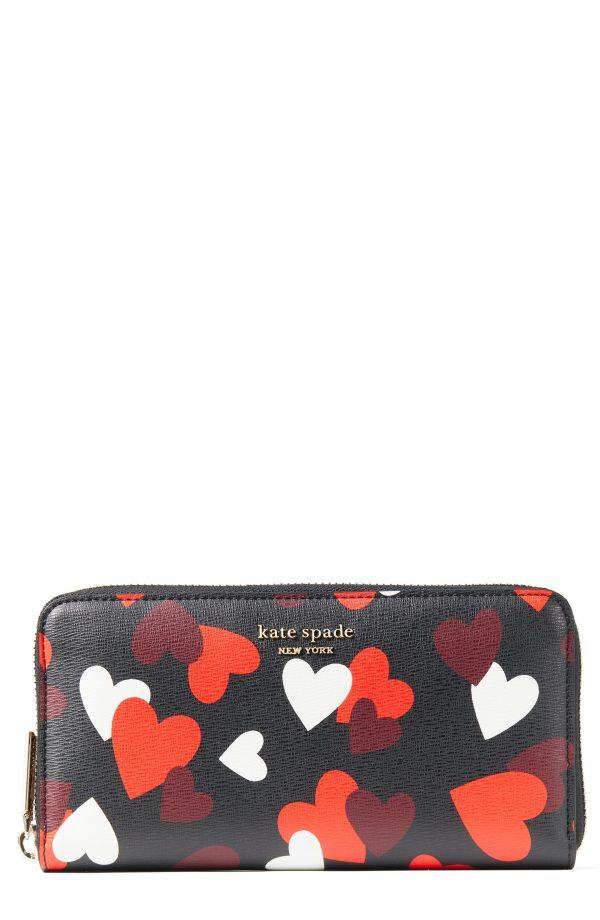 Women's Kate Spade New York Spencer Celebration Hearts Saffiano Leather Zip Wallet - Black